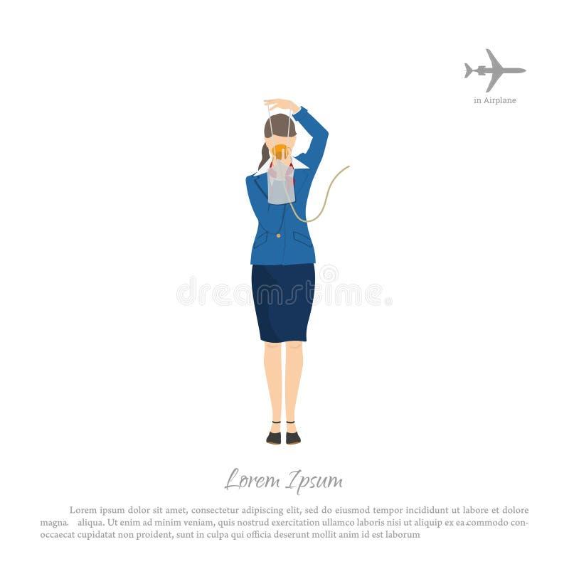 Flygvärdinnan visar bruket av en syremaskering Stewardess i flygplankabin vektor illustrationer