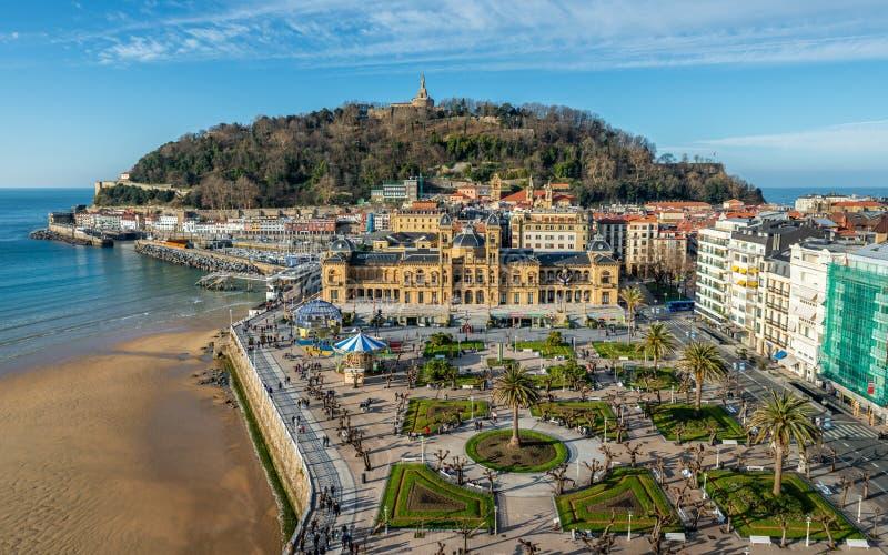 Flygvy i San Sebastian i Spanien royaltyfri foto