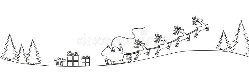 Flyin de Santa Claus en el trineo en la noche, línea ejemplo - vector de la Navidad stock de ilustración