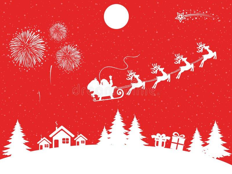 Flyin de Santa Claus en el trineo en la noche - vector de la Navidad ilustración del vector