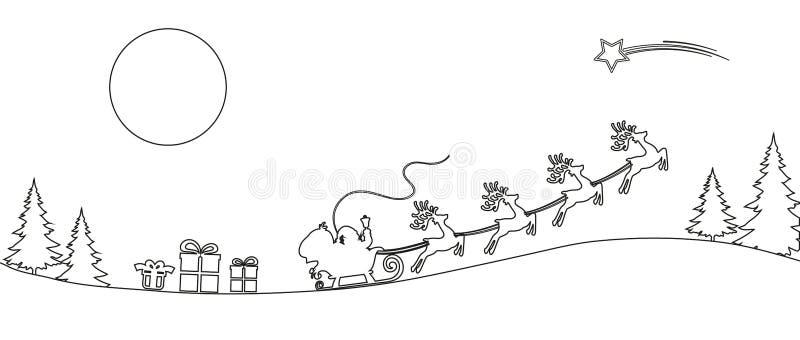 Flyin de Santa Claus en la línea silueta - vector del trineo de la Navidad stock de ilustración