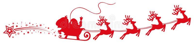 Flyin de Santa Claus no trenó do Natal - para o estoque ilustração do vetor