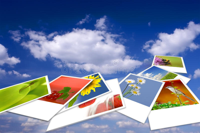 Flying. Summertime theme photo collage composed of few images stock illustration