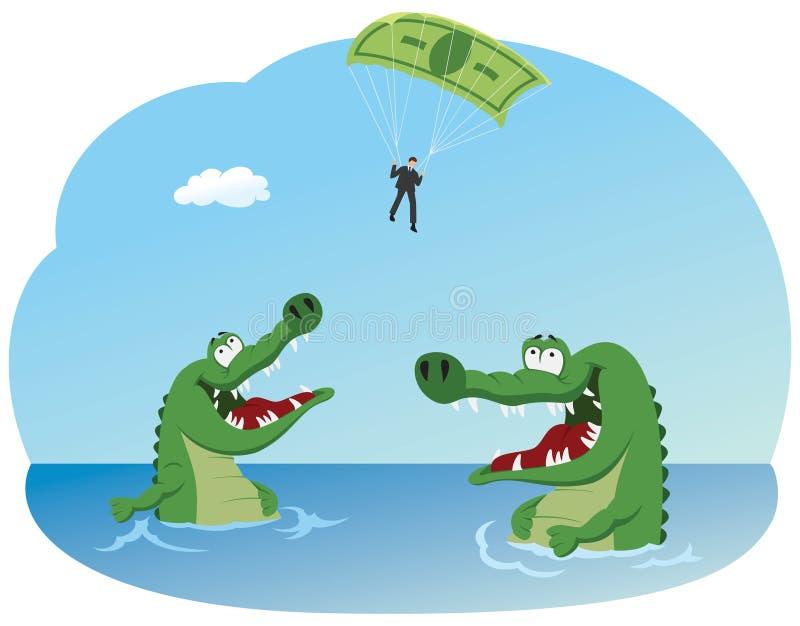 Flying above crocodiles stock illustration