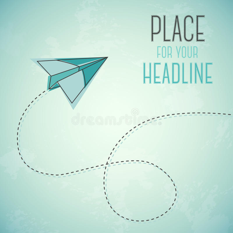 Flying abstract green paper plane on grungy background vector illustration