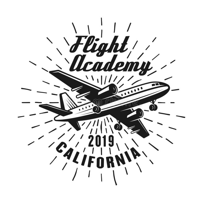 Flying academy vector emblem, label, badge or logo royalty free illustration