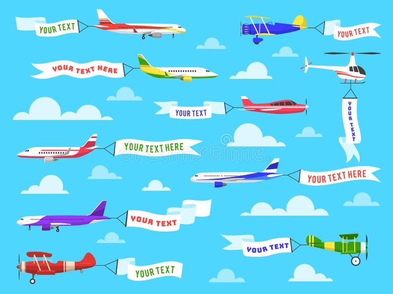 Flying advertising banner. Sky planes banners airplane flight helicopter ribbon template text advertisement message set. Flying advertising banner. Sky planes royalty free illustration