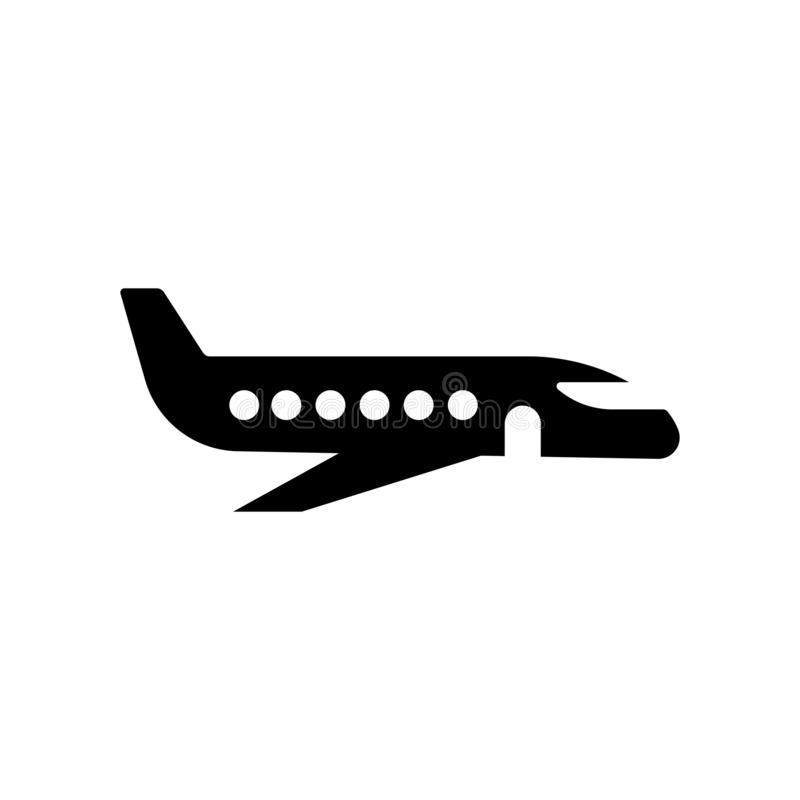 Flying aeroplane top view icon vector sign and symbol isolated o royalty free illustration