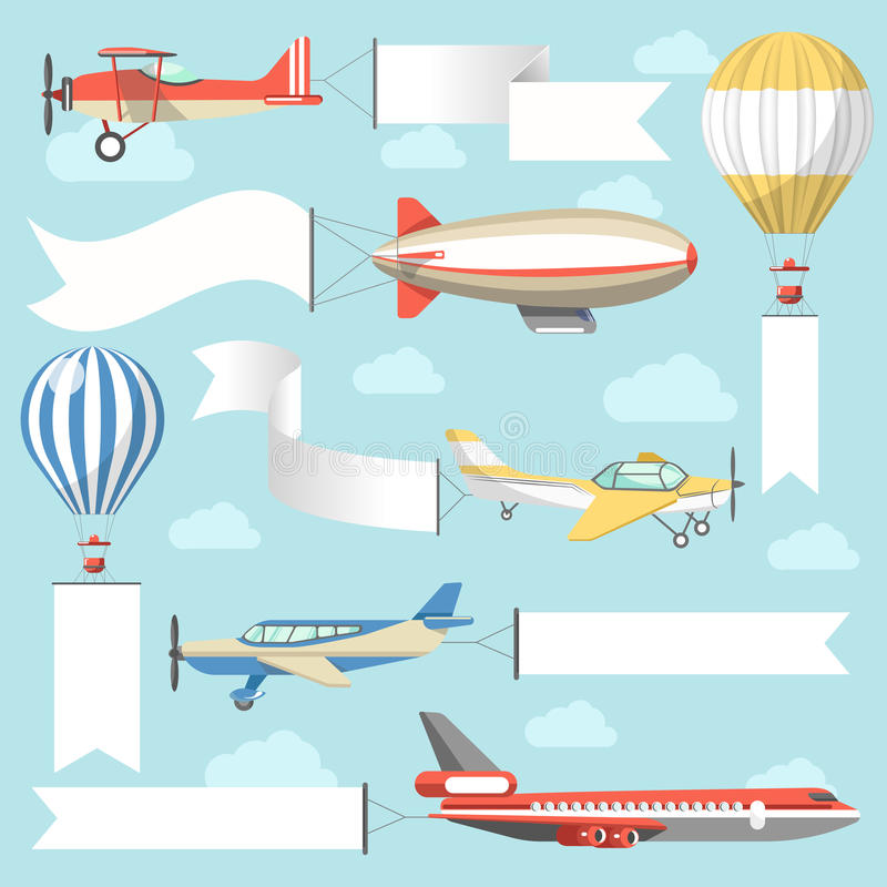 Flying air advertising media vehicles and constructions vector flat icons set. Flaying air advertising media vehicles and outdoor ad display constructions stock illustration