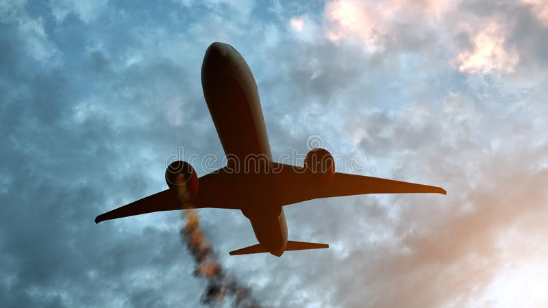 Flying aircraft with exploding aero engine just before air crash. 3D illustration.  royalty free stock photos