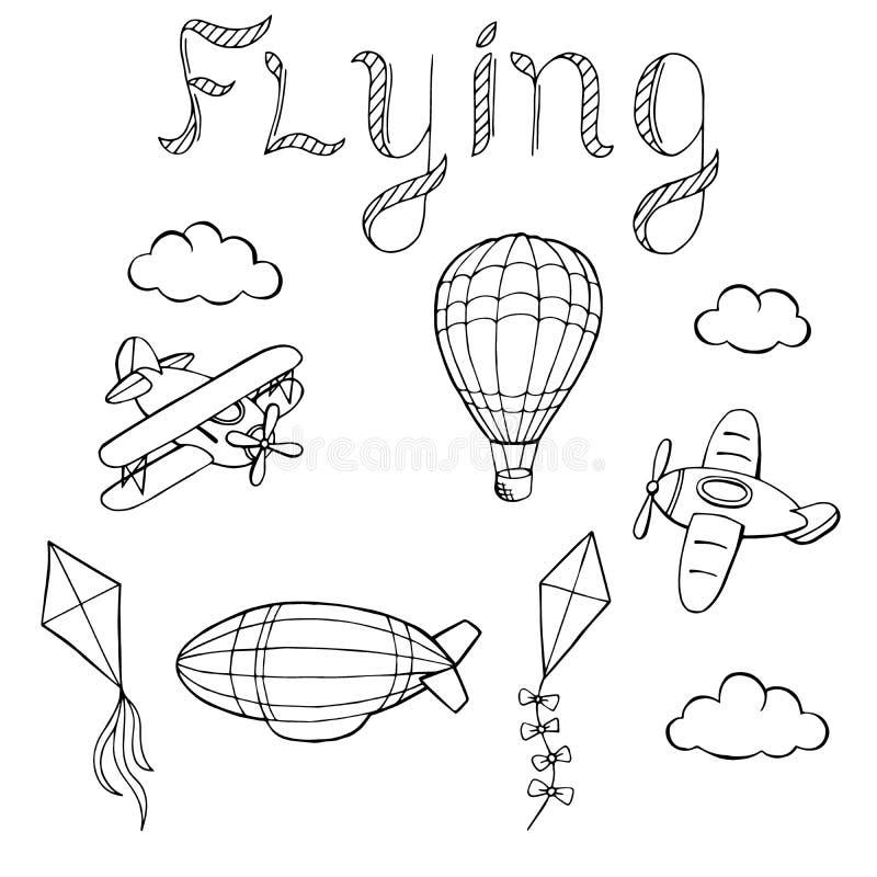 Flying airplane balloon airship kite cloud graphic art black white isolated illustration royalty free illustration