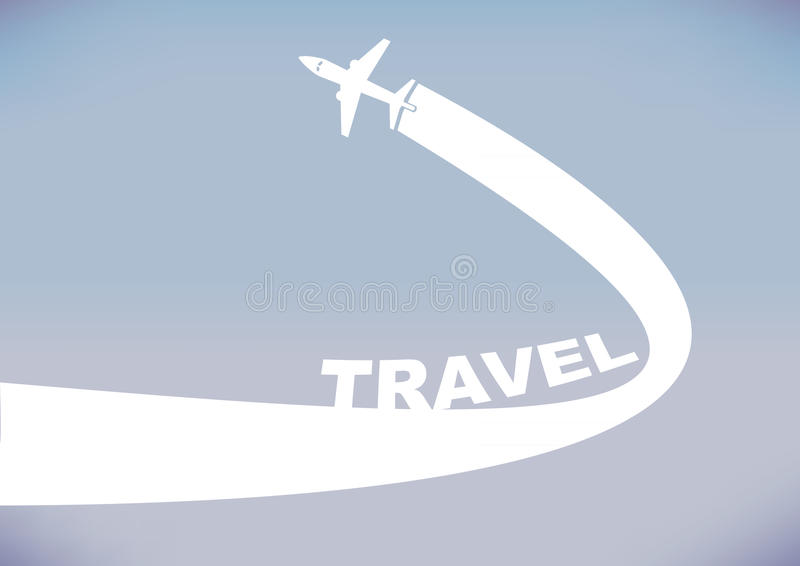 Flying Airplane with Contrails Icon For Travel Industry. Flying airplane leaving a curve contrail isolated on cloudless evening sky background. Vector royalty free illustration