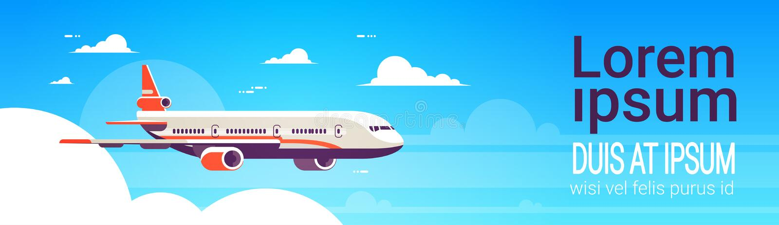 Flying airplane express delivery shipping international transportation concept sky background flat horizontal banner royalty free illustration