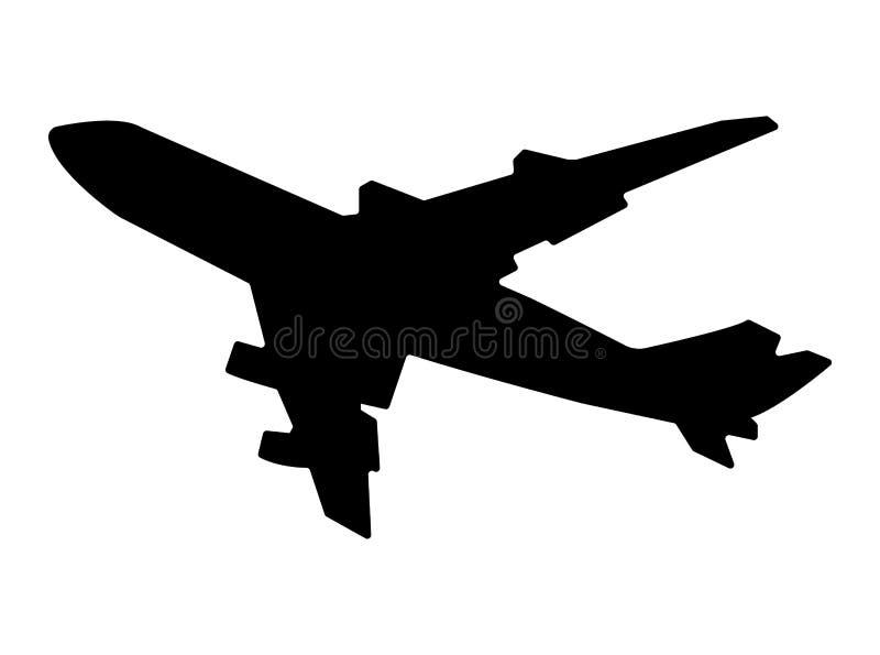 Flying airplane silhouette illustration royalty free illustration