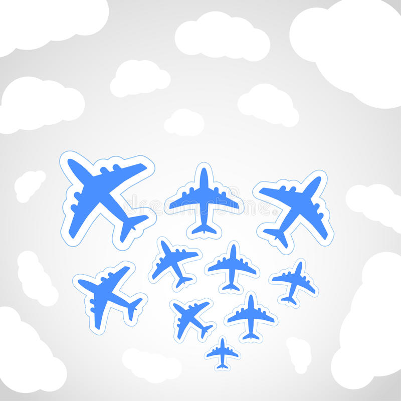 Flying airplanes stock illustration