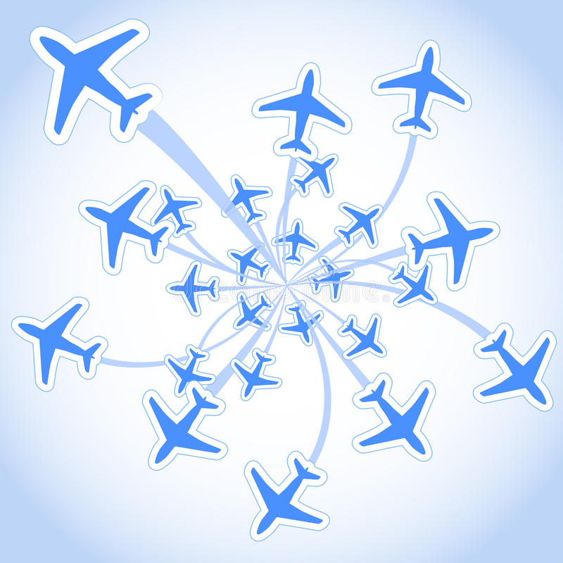 Flying airplanes royalty free illustration