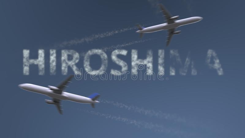 Flying airplanes trails and Hiroshima caption. Traveling to Japan conceptual 3D rendering. Flying airplanes and Hiroshima caption. Traveling to Japan conceptual stock illustration