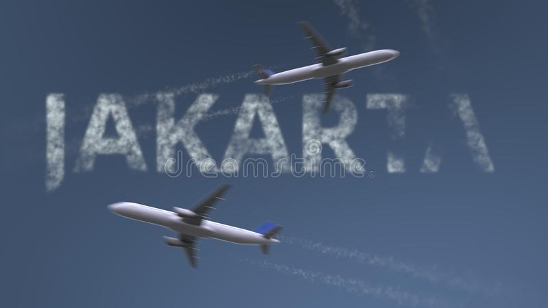 Flying airplanes trails and Jakarta caption. Traveling to Indonesia conceptual 3D rendering royalty free illustration