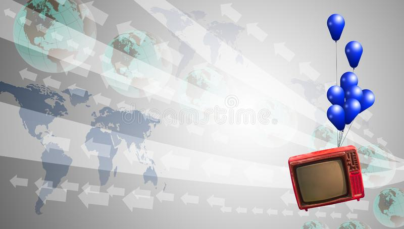 Flying analog TV with digital background stock image