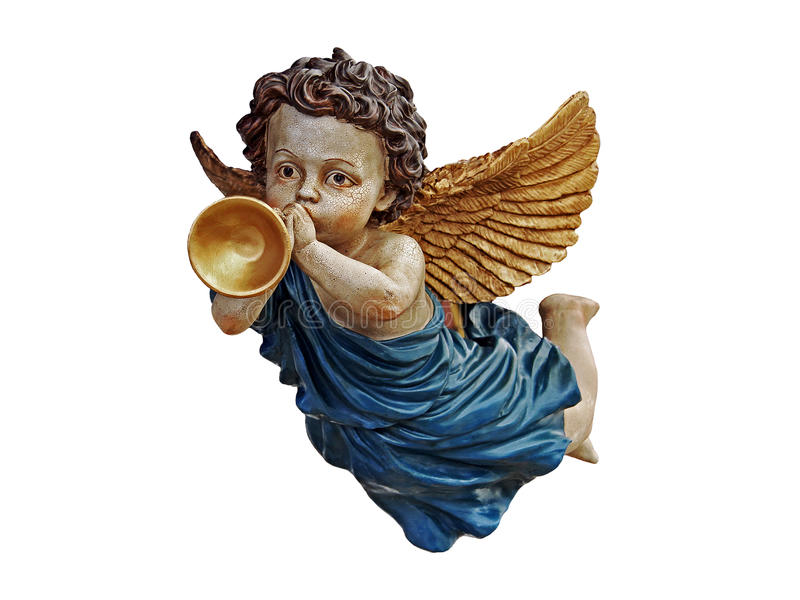 Flying angel. Isolated angel with golden wings, flying and playing an instrument