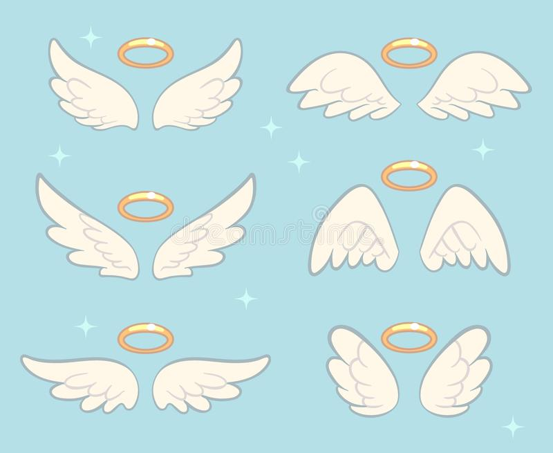 Flying angel wings with gold nimbus. Angelic wing cartoon vector set stock illustration