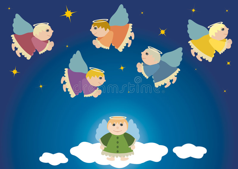 Flying angels. Christmas theme, angel in heaven, starry sky, religion, advent, blue, gift, present, vector illustration, postcard, guardian angel royalty free illustration