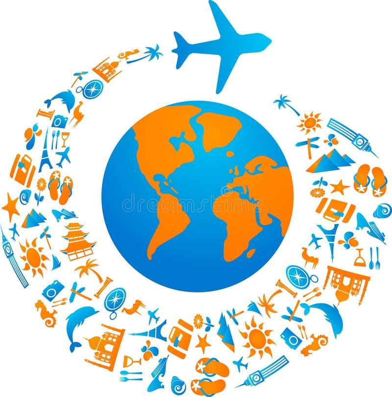 Flying around the world stock illustration