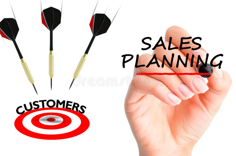 Flying arrows to a customers target suggesting sales planning royalty free stock photography