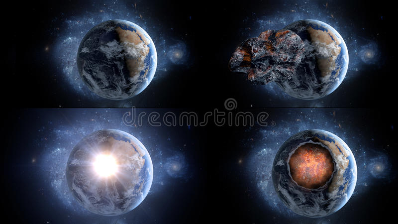 Flying asteroid, meteorite to Earth. outer space. Armageddon. 3d rendering royalty free stock photography