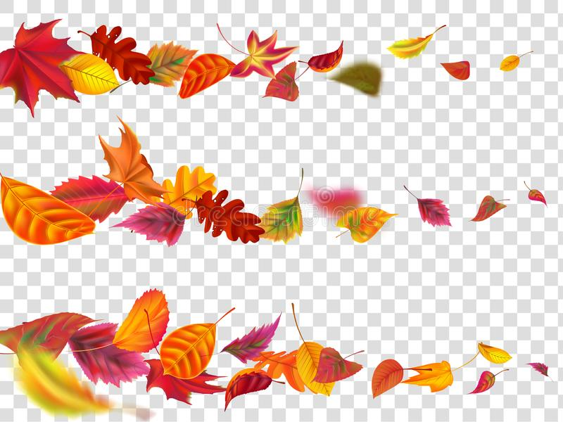 Flying autumn leaves. Fall leaf banner, yellow garden leafage fly realistic vector illustration set stock illustration