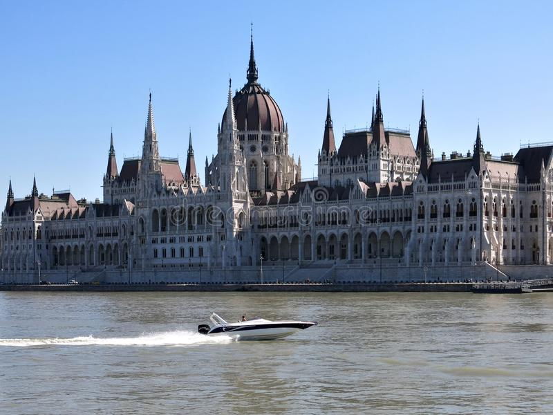 Flying away in Budapest. Budapest, River, Boot, Danube, Architecture, Parliament Building, Turist Attraction, Travel, Urban Landscape stock images
