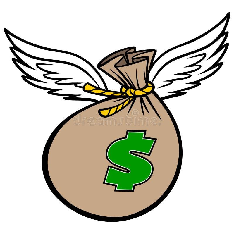 Flying Bag of Money. A vector cartoon illustration of a Flying Bag of Money concept