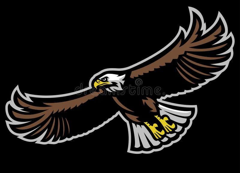 Flying bald eagle mascot royalty free illustration