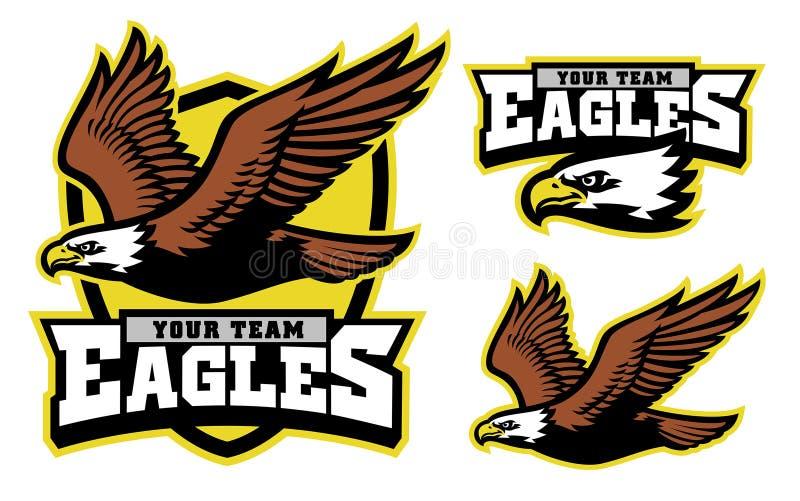 Flying bald eagle mascot stock illustration
