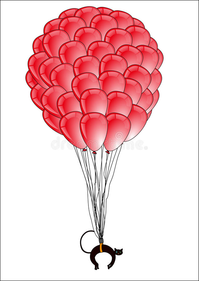 Flying balloon with cat stock illustration