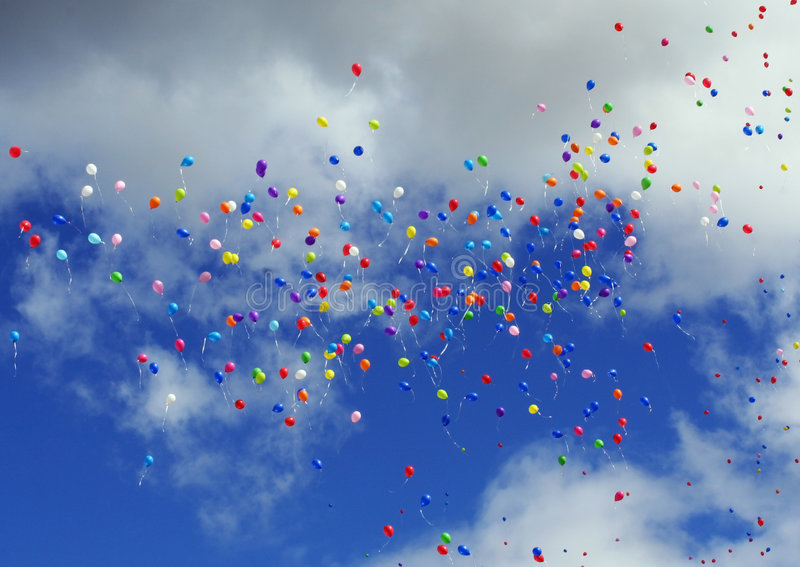 The flying balloons stock photography