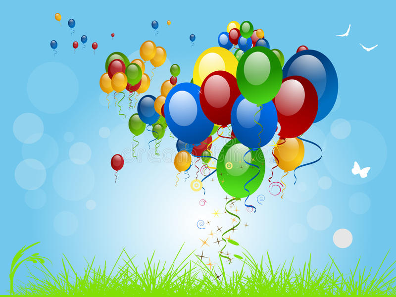 Flying Balloons. On a bright summers day royalty free illustration