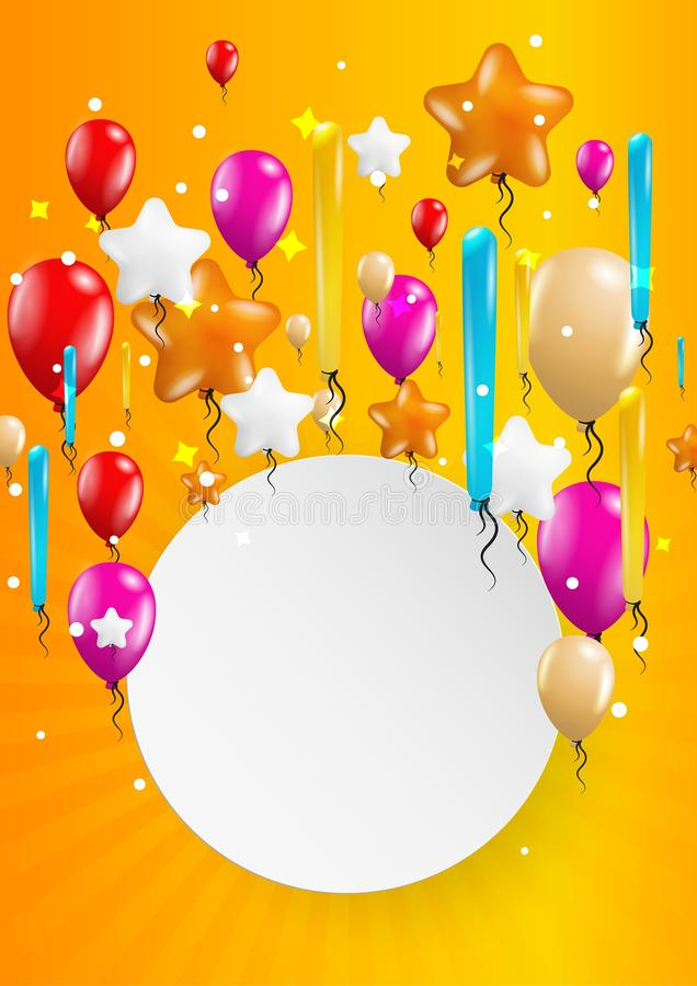 Flying balloons with blank paper. Many flying balloons with empty paper ready for your text on yellow background royalty free illustration