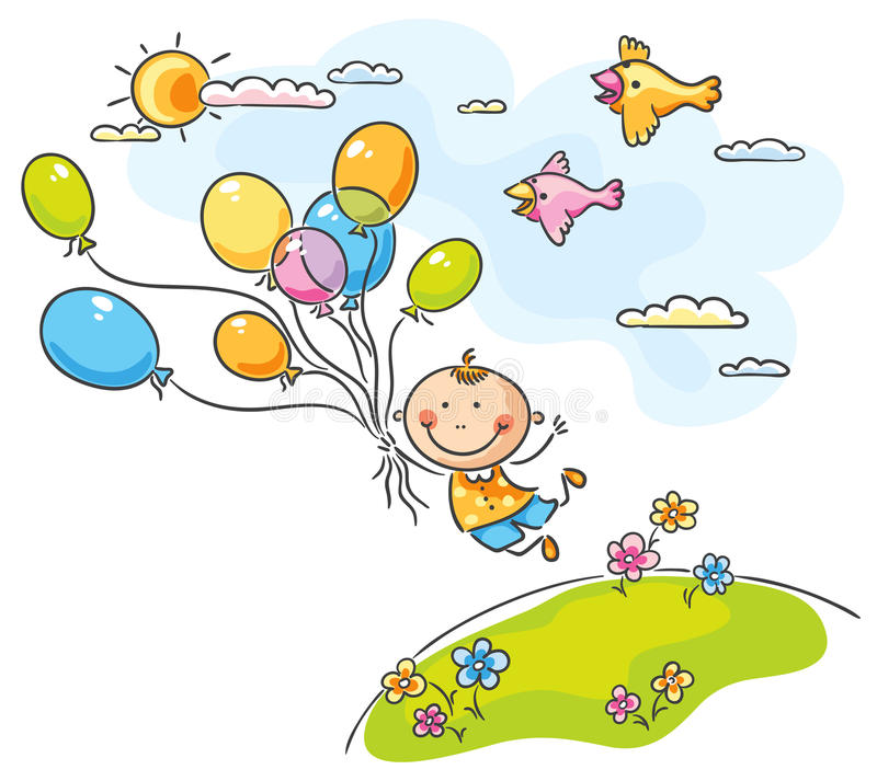 Flying with the balloons stock illustration