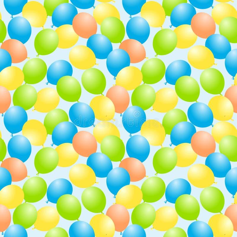 Flying balloons seamless background stock illustration