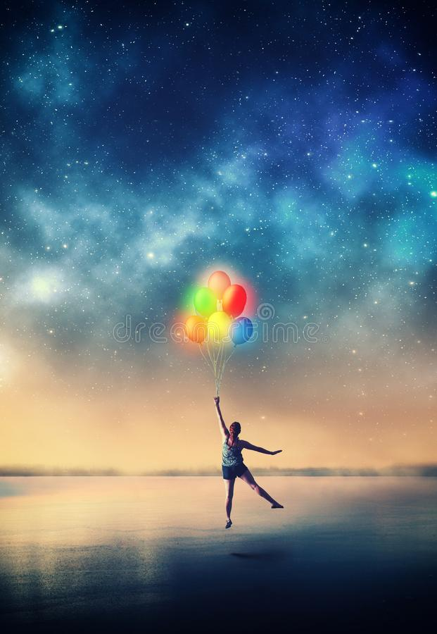 Flying with balloons royalty free stock images