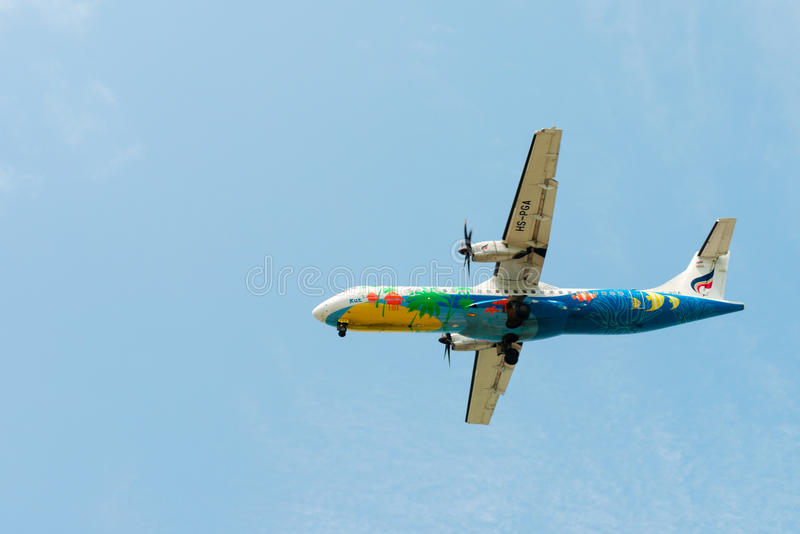 Download Flying Bangkok Airlines Airplane In Clean Blue Sky Editorial Photo - Image: 96125886