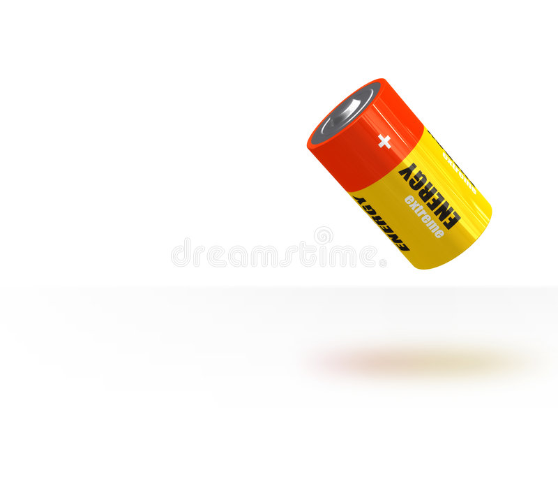 Flying battery. A 3d battery render stock image