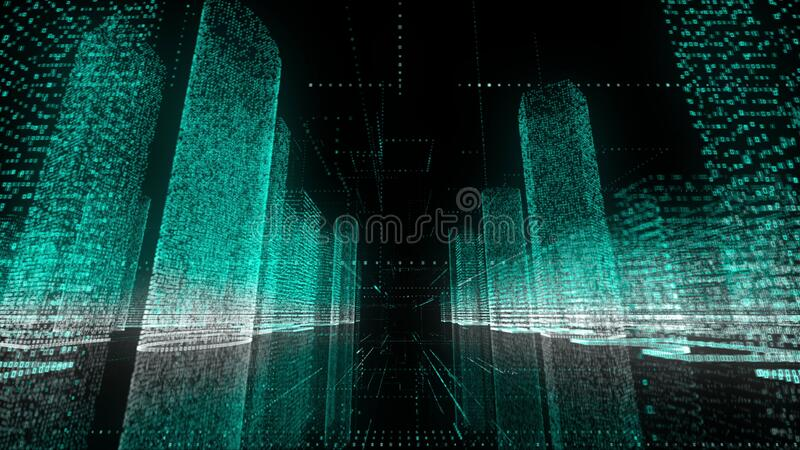 Flying through beautiful digital model of abstract modern city made of symbols and grids in azure and white color on royalty free stock photo