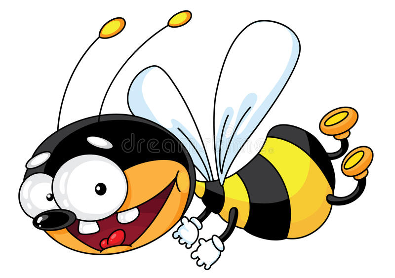 Download Flying bee stock vector. Image of animal, stripes, cheerful - 15115931