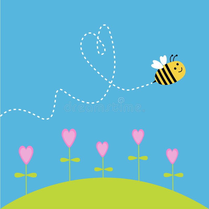 Free Flying Bee. Dash Heart In The Sky. Card Stock Images - 35750314