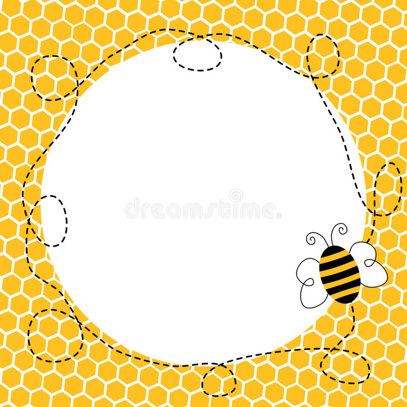 Flying Bee in a Honeycomb Frame. Honeycomb border frame with a flying bee stock illustration