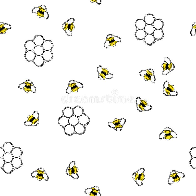 Flying bees and honeycombs seamless pattern. stock illustration