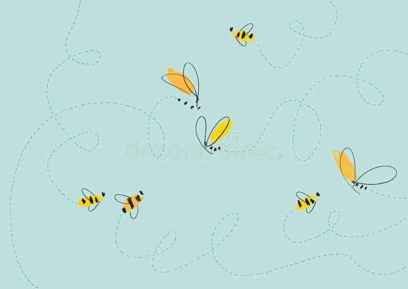 Flying Bees Illustration royalty free stock image