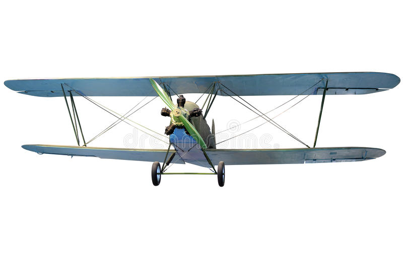 Flying biplane stock photography